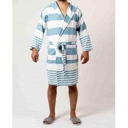 Sauna Badjas, Van Katoen Extra Dun Wit Blauw