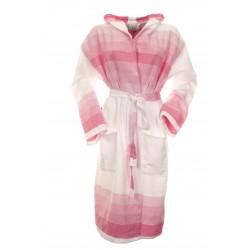 Sauna Badjas, Van Katoen Extra Dun Wit met Roze Strepen