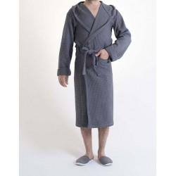 Sauna Wafel badjas , 100%  Van Katoen Dun, Antraciet, Dames en Heren