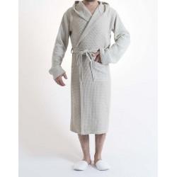 Sauna Wafel badjas , Van Katoen Dun, Licht Cream 100% katoen