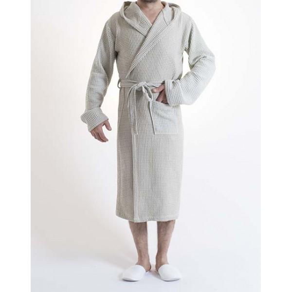 Sauna Wafel badjas , Van Katoen Dun, Lichtbruin 100% katoen