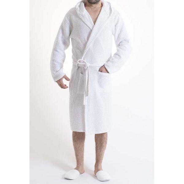 Sauna Wafel badjas , Van Katoen Dun, Wit 100% katoen