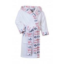 Kinderbadjas , 100% van Katoen Wit Antraciet Rood