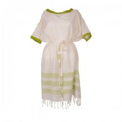 Xziir strand jurk van hamamdoek, Wit Groen