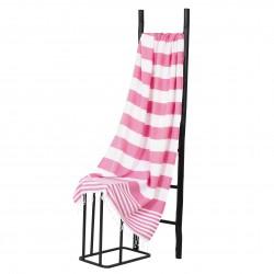 Hamamdoek, Roze Wit  gestript , 95 x 170cm Dun