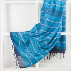 Hamamdoek, X.ZIIR Zijde, blauw, 190x90 cm.