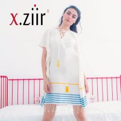 Xziir strand jurk van hamamdoek, Wit Blauw