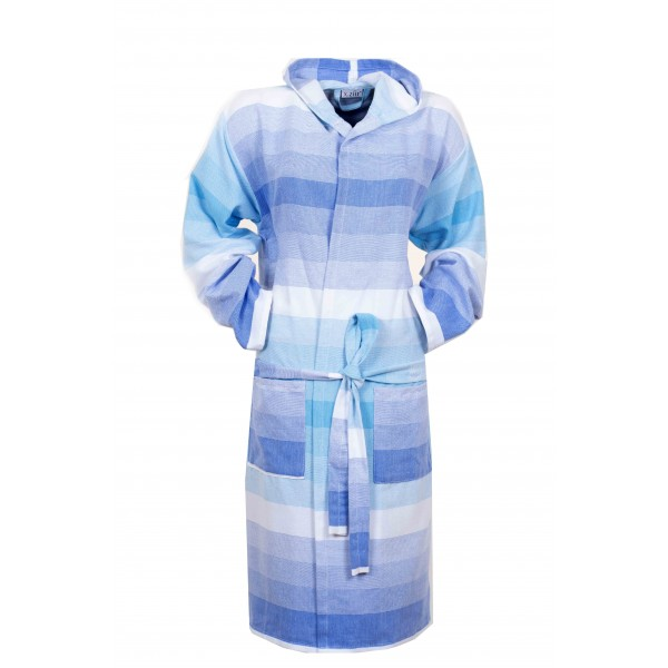 Sauna Badjas, Van Katoen Extra Dun  Turquoise  Wit Blauw