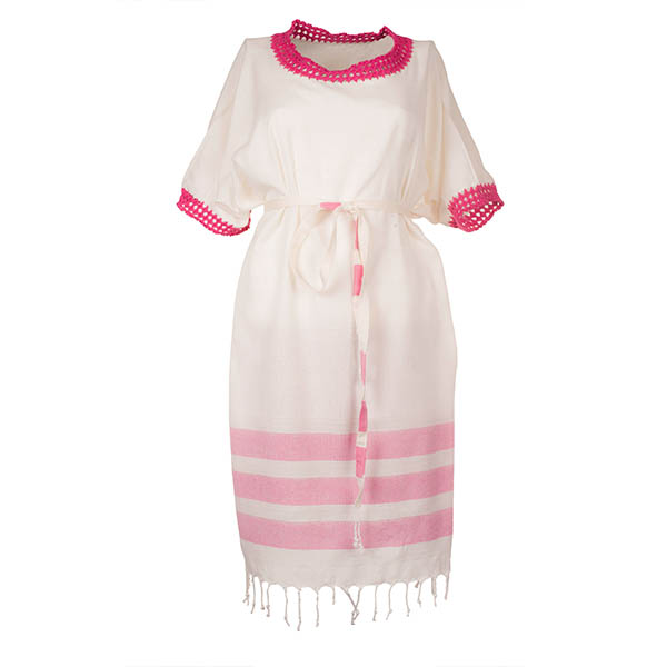 Xziir strand jurk van hamamdoek, Wit Rood