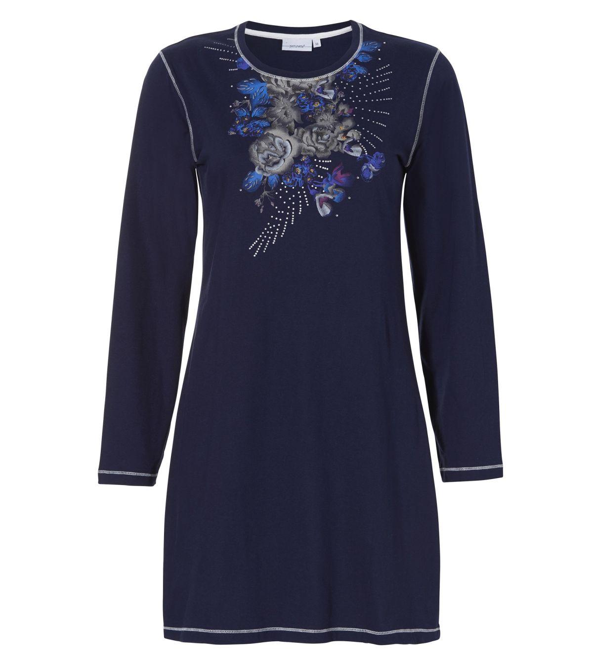 Damesnachthemd Medium Donkerblauw Bloemen